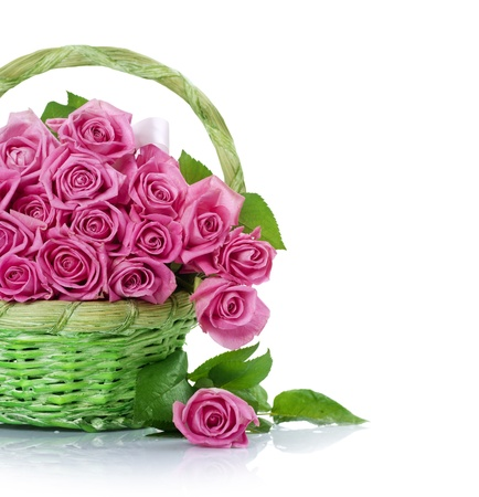 Valentine Roses Bouquet in the basket photo