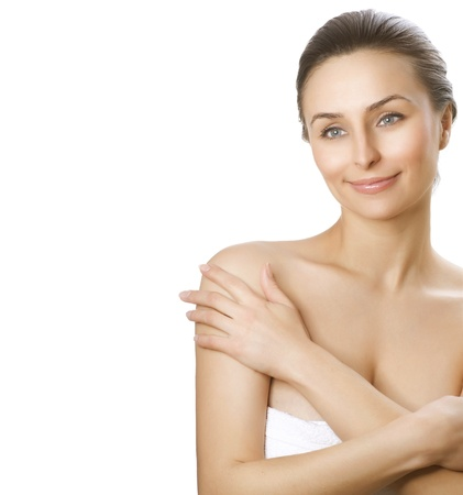 touched: Beautiful Young Woman with fresh healthy skin.Spa woman concept