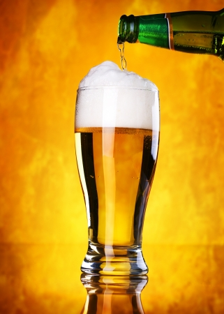 glass of beer: Beer Pouring