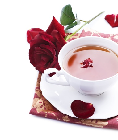 brown cup tea: Healthy Tea with rose petals