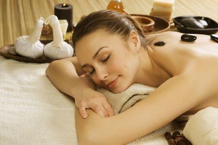 aroma bowl: Spa Woman Stock Photo