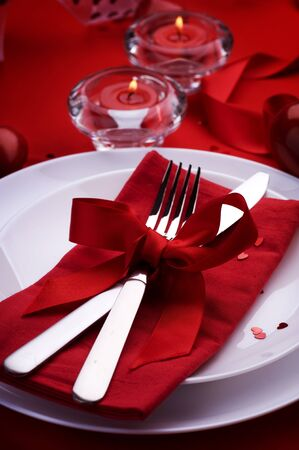 Romantic Dinner.Table place setting for Valentine's Day Stock Photo - 9022627
