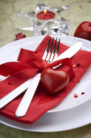 Romantic Dinner.Place setting for Valentines Day photo