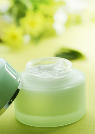 cosmetic cream: Jar of moisturizing facial cream Stock Photo