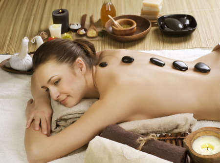 hot rock therapy: Spa Woman.Hot Stones Massage