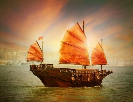 wooden boat: Hong Kong junk boat Stock Photo