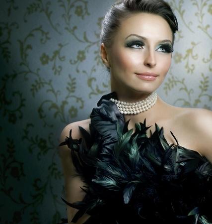 pearls: Romantic Beauty Portrait.Beautiful Luxury Girl
