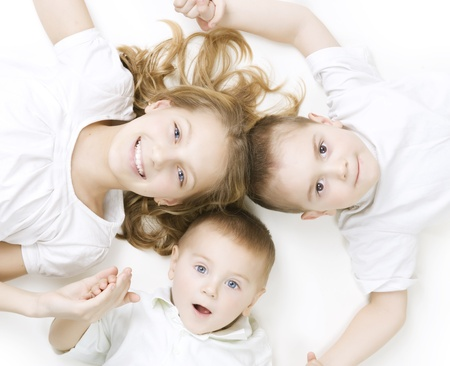 brothers: Happy Family. Kids over white background