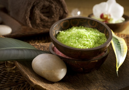 bath salts: Spa treatments.sea salt Stock Photo