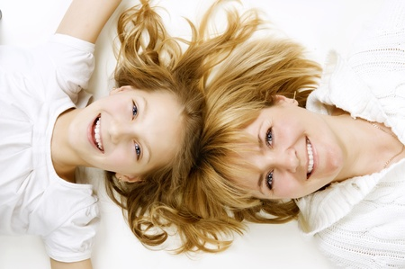 Happy Mather with Daughter over white  photo