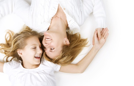 mother and daughter: Happy Mather with Daughter over white