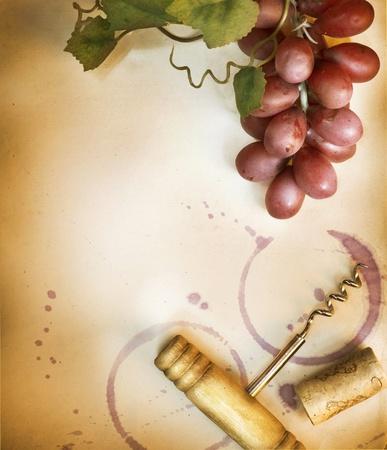 corcho: Fondo vino. Estilo vintage Foto de archivo