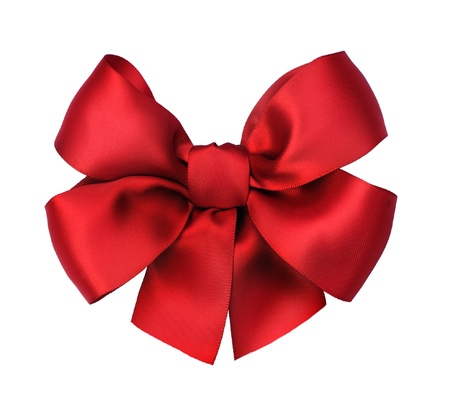 Red satin gift bow. Isolated on white Stock Photo - 9378842