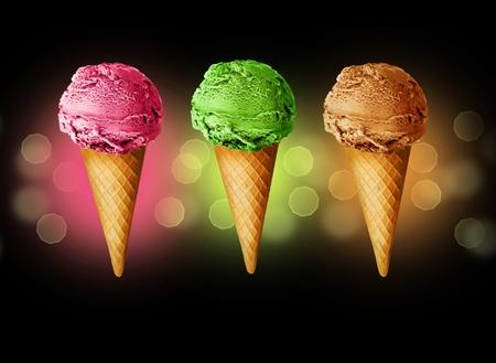 Ice Cream cones over black Stock Photo