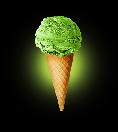 Ice Cream cone over black Stock Photo - 9441478