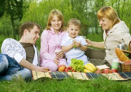 Happy Family outdoor. Picnic photo