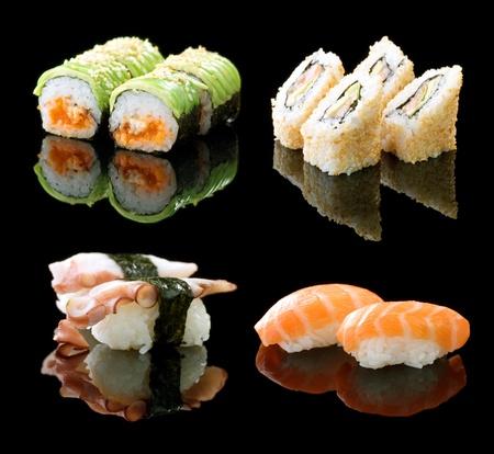 atún: Sushi sobre negro