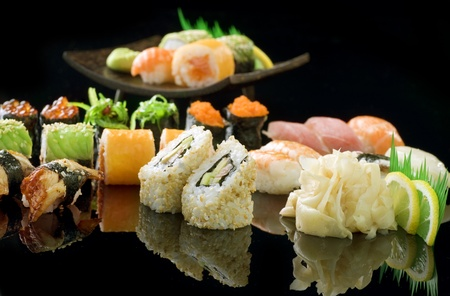 Sushi over Black Stock Photo - 9504713