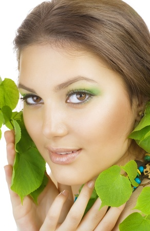 Spring Beauty outdoors. Perfect skin photo