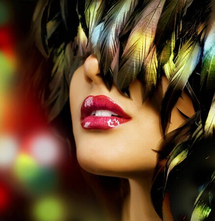 wig: Fashion woman Portrait. Red Lips Stock Photo