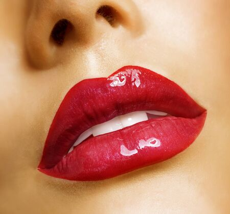 Sensual mouth. Red lipstick photo