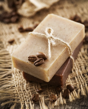 natural soap: Coffee and Chocolate handmade soap. Organic spa Stock Photo