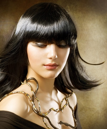 egyptian woman: beautiful brunette. egyptian style. hairstyle Stock Photo