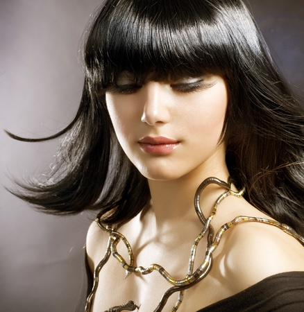 beautiful brunette. egyptian style. hairstyle Stock Photo - 9655668