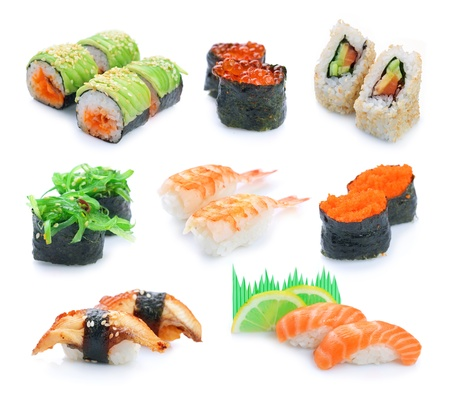Sushi set over White photo