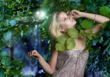 the moonlight: Hermosa mujer rom�ntica del bosque de niebla