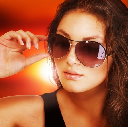 wearing glasses: Beautiful fashion woman wearing sunglasses Stock Photo