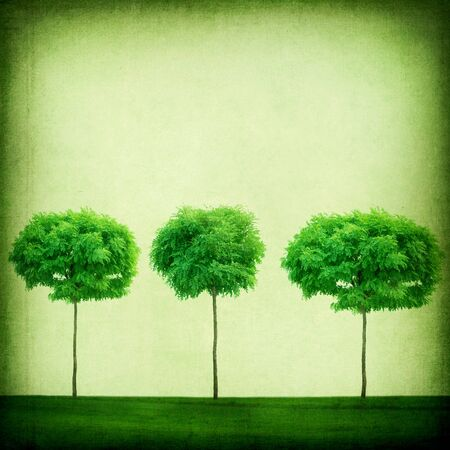 Green Retro Background. Growing Trees photo