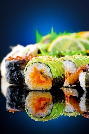 Sushi over blue