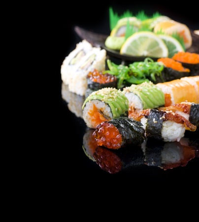 Sushi over Black photo