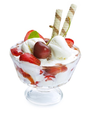 ice cream scoop: Ice Cream with fruits