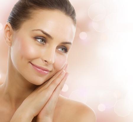 limpieza de cutis: Hermosa mujer sana. Perfecta piel sana