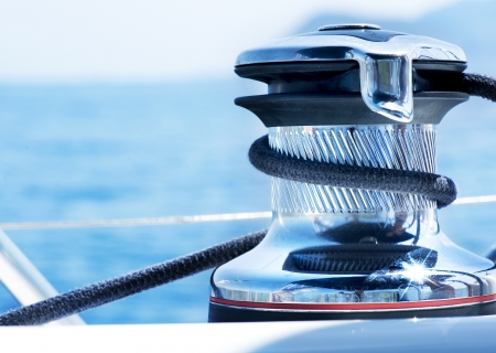 boating: Sailboat Winch and Rope Yacht detail. Yachting