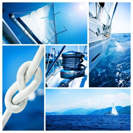 yachts: Collage di yacht. Barca a vela. Concetto di Yachting  Archivio Fotografico