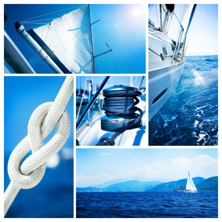 sails: Yacht collage. Sailboat. Yachting concept  Stock Photo