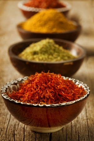Spices Saffron, turmeric, curry  photo