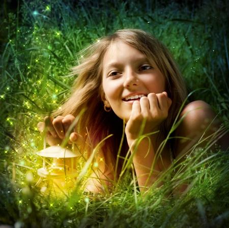 miracles: Girl with Magic Lamp. Night Miracle
