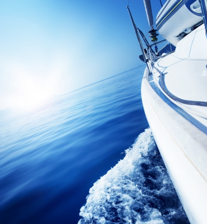 navigating: Luxury Yacht under Sail. Tourism. Lifestyle Stock Photo
