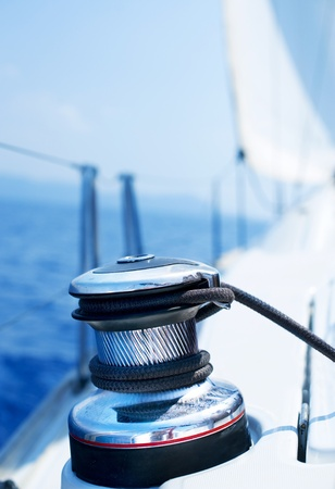 rigging: Sailboat Winch and Rope Yacht detail. Yachting