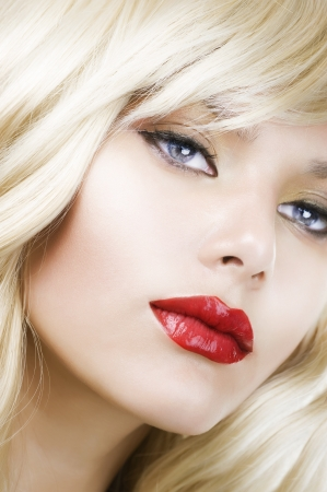 flaxen: Beautiful Blond Woman Portrait. Hairstyle. Makeup