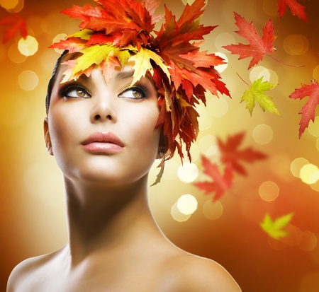 Fashion Woman Makeup. Autumn Style photo