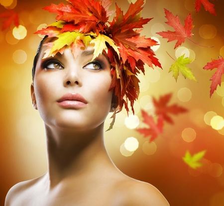 Fashion Woman Makeup. Autumn Style photo