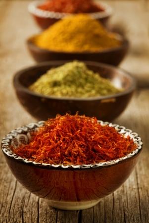 Spices Saffron, turmeric, curry photo