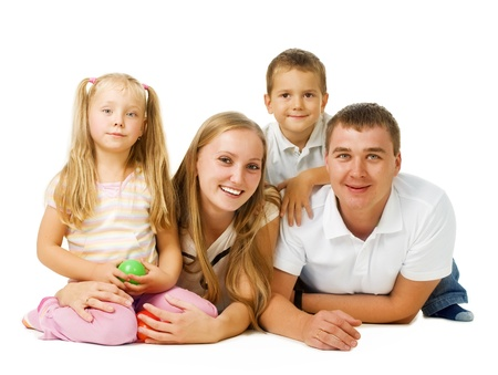 Happy Big Family Parents with kids over white  photo