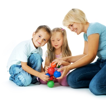 for kids: Children playing on the floor. Educational games for kids  Stock Photo