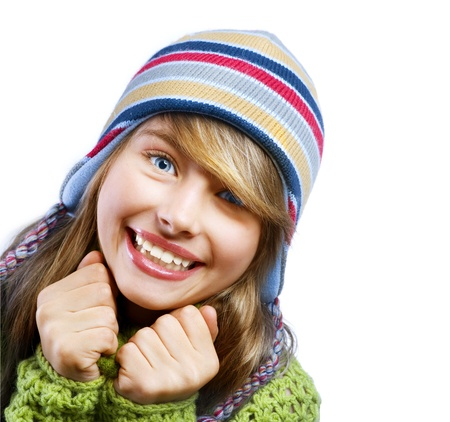 Teenage Girl Portrait. Warm Clothes photo
